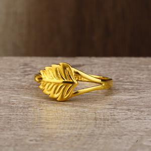 Ladies 22k gold leaf design ring -lpr150