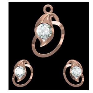 18kt rose gold soliter pendant set