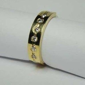 916 gold kids cz stone indian channel band