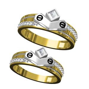 916 cz diamond gold couple ring