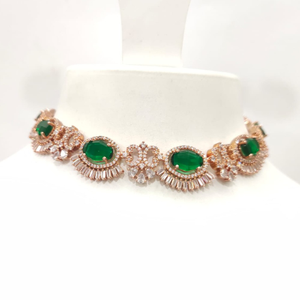 Antique gold plated full choker with emerald