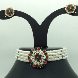 Tri colour choker set with 4 line flat pear