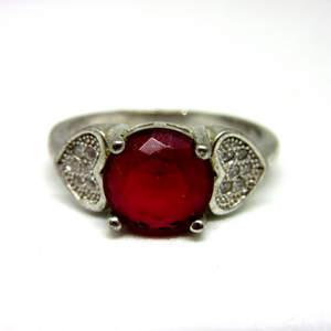 Silver 925 red stone ring sr925-172