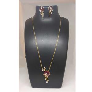 Real diamond branded chain pendant set