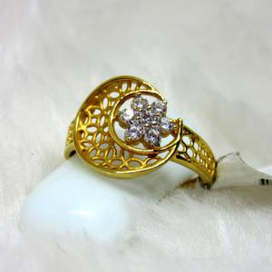 Classic half moon star diamond ring