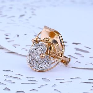Ladies rose gold fancy cz 18k ring-rlr41