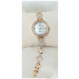 18k ladies fancy rose gold watch g-2711