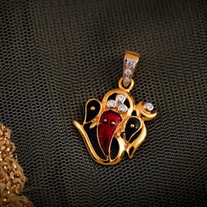 22k classic ganesh pendant