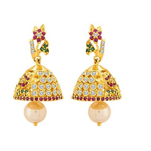 22kt, traditional jummar earrings with colore