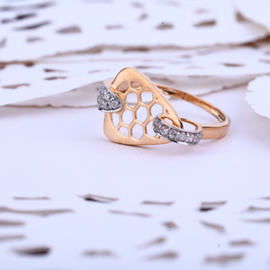 Ladies rose gold designer delicate cz ring-rl