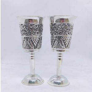 Stylish and pure silver wine glasses in fine