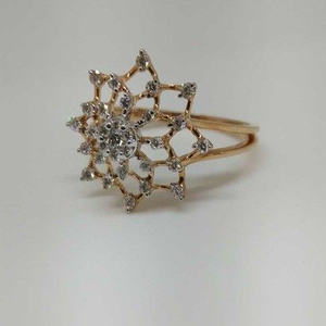 Real diamond rose gold flower ladies ring