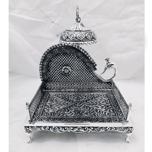 925 pure silver antique singhasan with peacoc