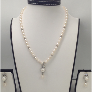 White cz and pearls pendent set with oval