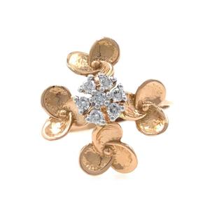 18kt / 750 rose gold - golden flower diamond