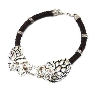 925 sterling silver leather belt lion bracele