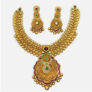 916 gold antique bridal necklace set rhj-6039
