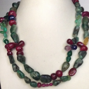 Natural ruby emerald sapphire long tumbles ma
