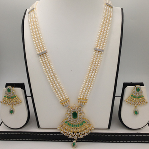 White and green cz rani haar set with 4 li