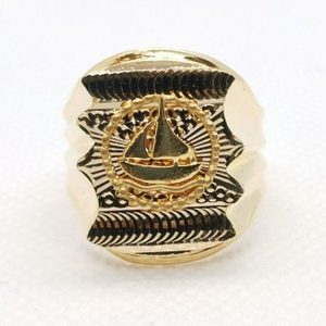 Boat initial gents ring