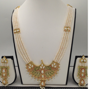 Red,green cz and pearls rani haarset with