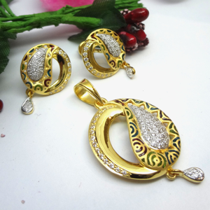 916 gold cz diamond pendant set