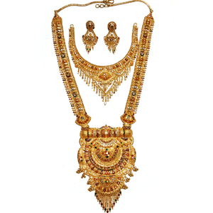 22k gold long rajwadi with half necklace set