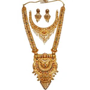 22k gold long rajwadi with half necklace set