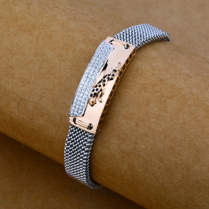 Rose gold leather bracelet-mlb38