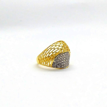 22KT yellow Gold Net Cutting CZ Ring For Women