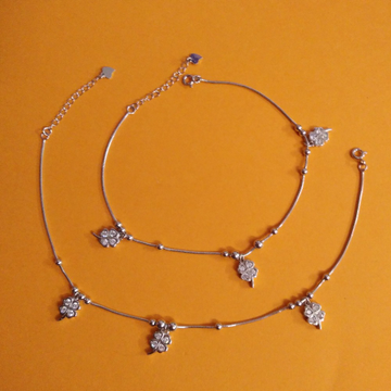 Puran Pure Silver Tiny Floral Charms Micro Anklets...
