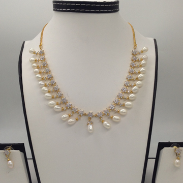 White CZ Stones And Freshwater Tear Drop Pearls Necklace Set JNC0064