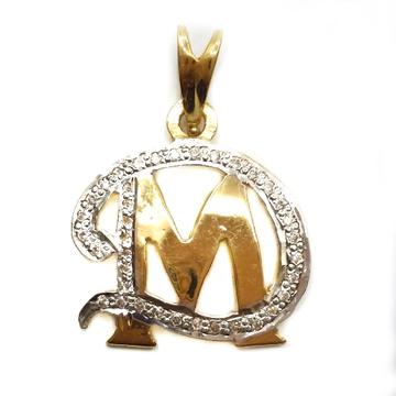 22k gold dm monogram pendant mga - mgp005