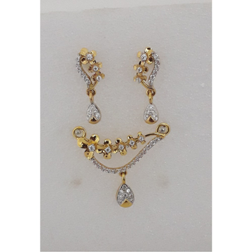 916 Gold CZ Stylish Mangalsutra Pendant Set MJ-PS010