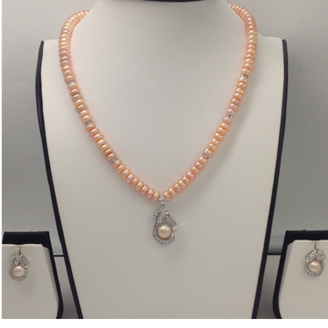 White CZ And Orange Pearls Pendent Set With Orange Flat Pearls Mala JPS0101