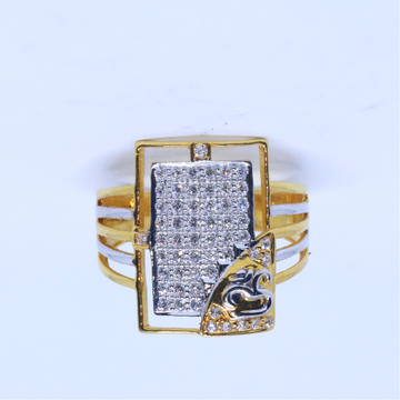 916 / 22KT Gold Delicate square Om RIng For Men GRG0164