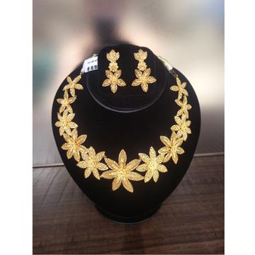 916 Gold Designer Necklace Set For Wedding GK-N01