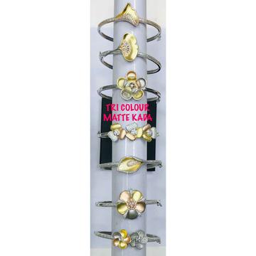 92.5 Sterling Silver Tri Colour Matte Kada Bracelet Ms-3083