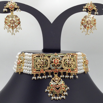 Navratna Amritsar Choker Set With 6 Line Flat Pear...