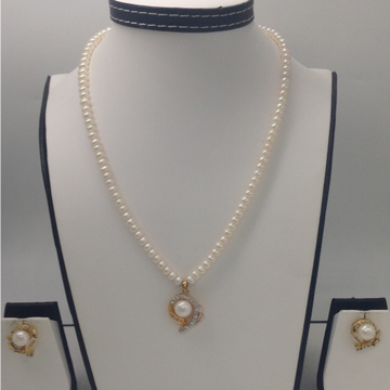 White CZ And Pearls PendentSet With FlatPearls Mala JPS0159