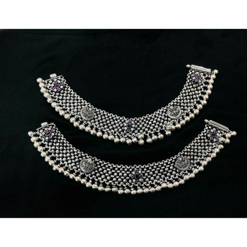 92.5 Sterling Silver Heavy Weight Apple Casting Oxodize Payal(Anklet) Ms-3860