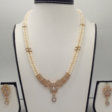 White CZ Pendent Set With 2 Line Flat Pearls Mala JPS0311