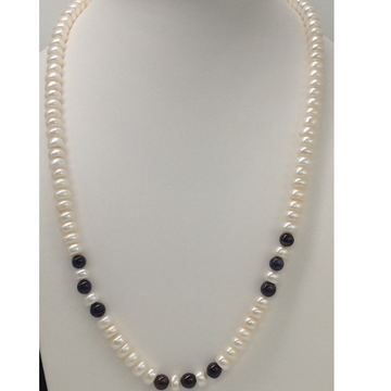 Freshwater White Flat Pearls Mala with Blue Sapphi...