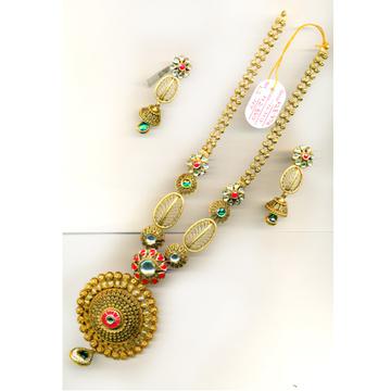 916 Gold Antique Designer Long Necklace Set-017