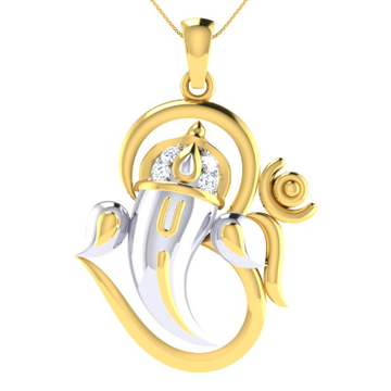 22KT Gold Pendent Ganesh With Om Combined Pendent