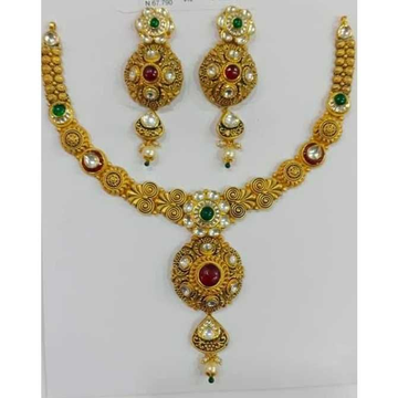 22ct Antiqe Gold Necklace Set by Vipul R Soni