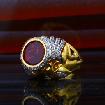 Mens Red Stone Heavy Fancy Gold Ring-MHR45