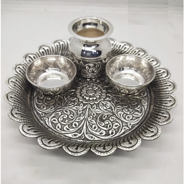 floral base pure silver antique pooja thali set by puran by Puran Ornaments