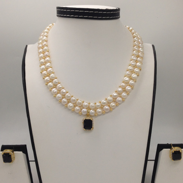 White And GreenCZ PendentSet With 2Line ButtonJali Pearls Mala JPS0389