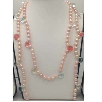 Freshwater pink oval pearls long open ended mala w...